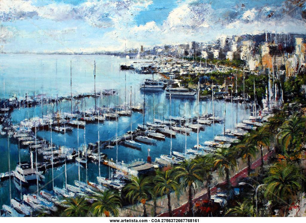 Paseo Maritimo de Palma Marine Painting Oil Canvas