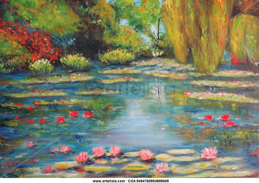 Estanque con lotos angel rodrigo valencia toro for Pintura para estanques