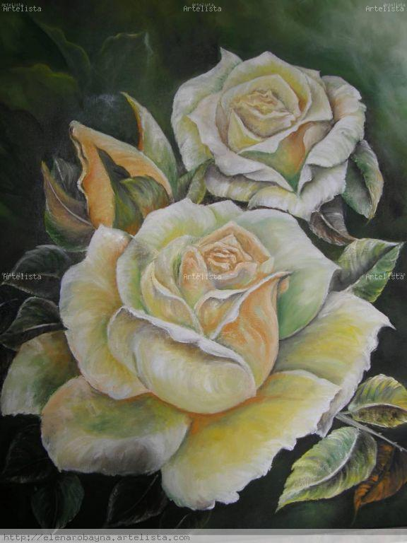Cuadros en oleo de rosas - Imagui