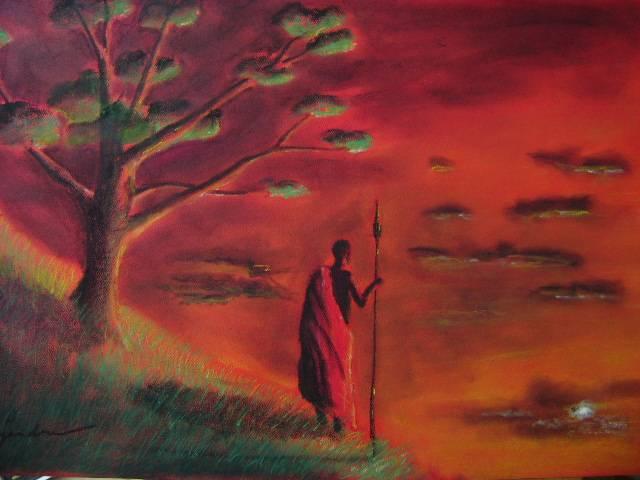 Atardecer de un masai alejandro fernandez monta ez - Cuadros de atardeceres ...