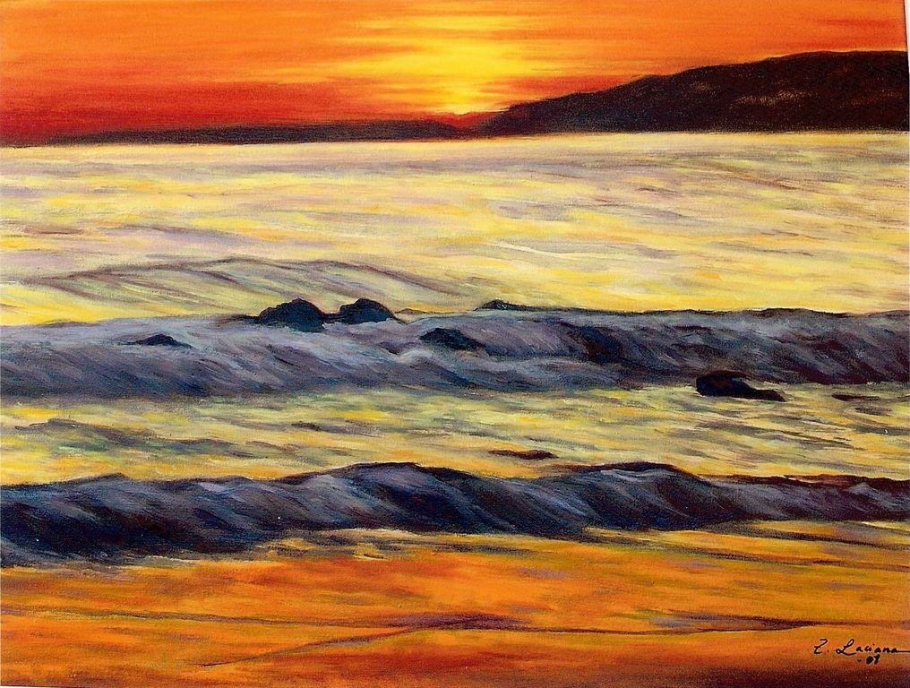 Atardecer en la costa del sol teresa laciana berrocal - Cuadros de atardeceres ...