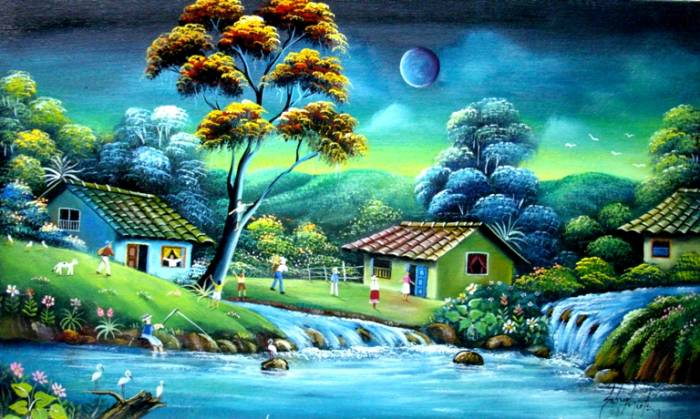 Rancho al anochecer gabriel nieto nieto pintor colombiano for Pintor y muralista colombiano