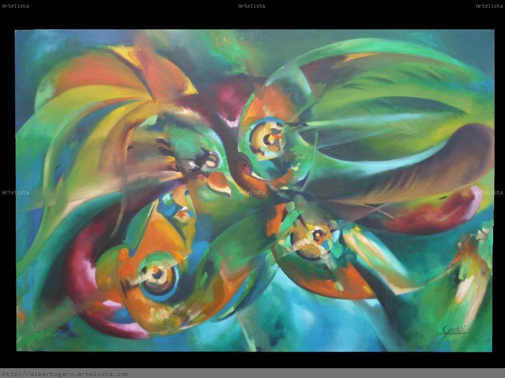 Aves y peces artista alberto garo for Cuadros de peces