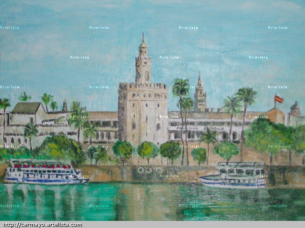 Vistas de sevilla torre del oro carlos martinez ayo for Todo pintura sevilla