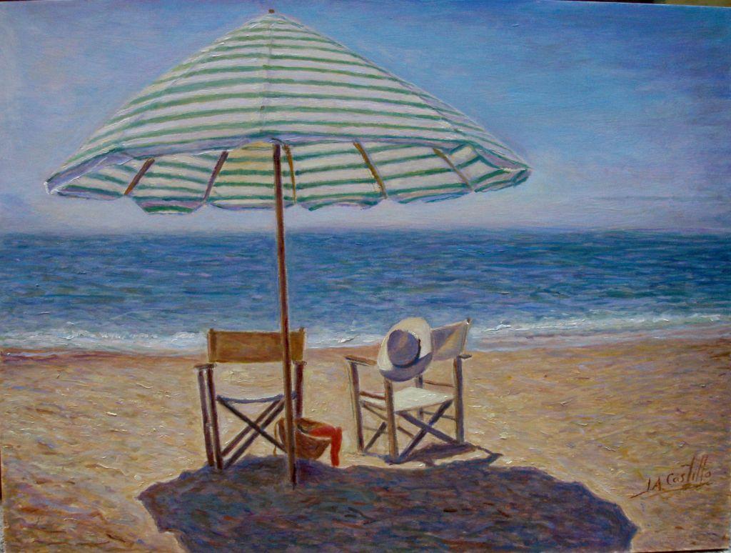 Cuadro de playa entre pecho