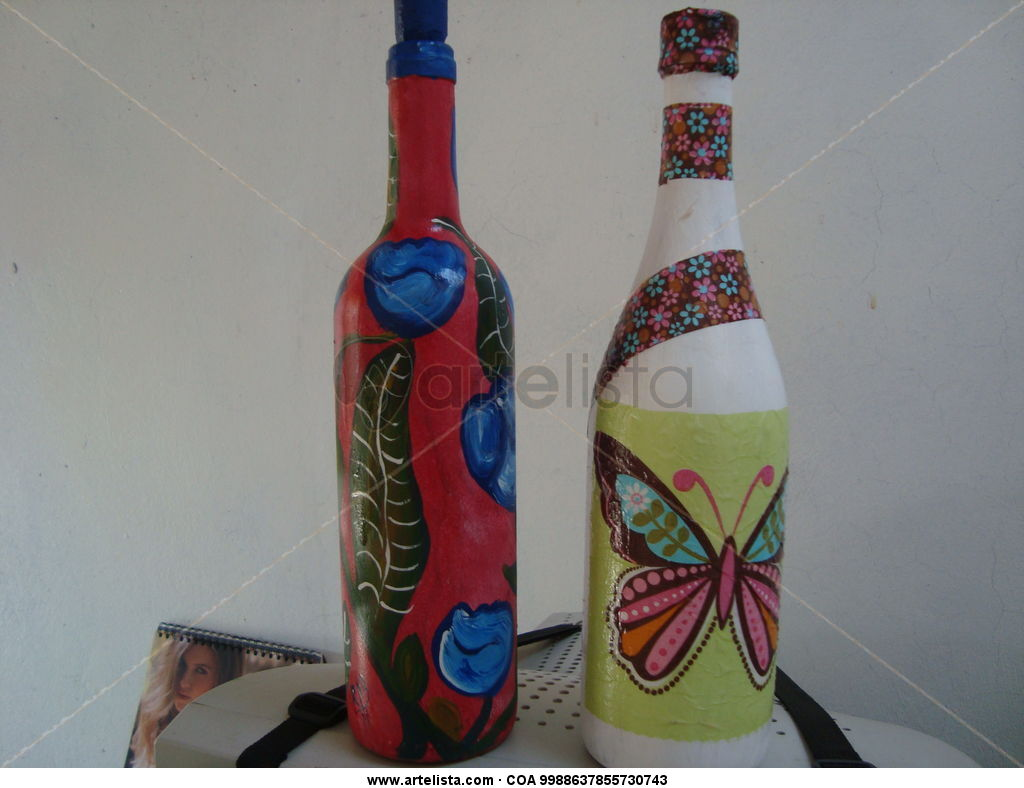 Botellas decoradas genesis artesanias - Botellas de cristal decoradas ...
