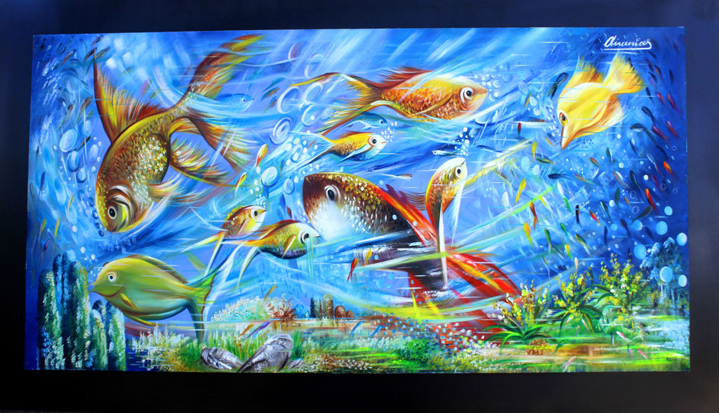 peces de colores ananias sanchez espitia On pintura para estanques de peces