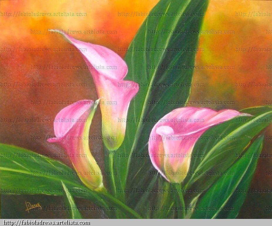 Tr  O De Calas Rosas   Leo Lienzo Floral