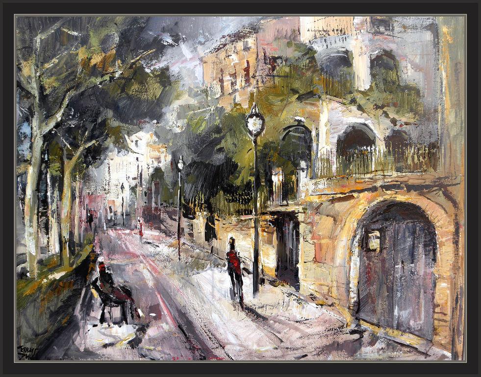 Casas y calles de solsona pintura paisaje cuadros pintor - Cuadros de casas ...