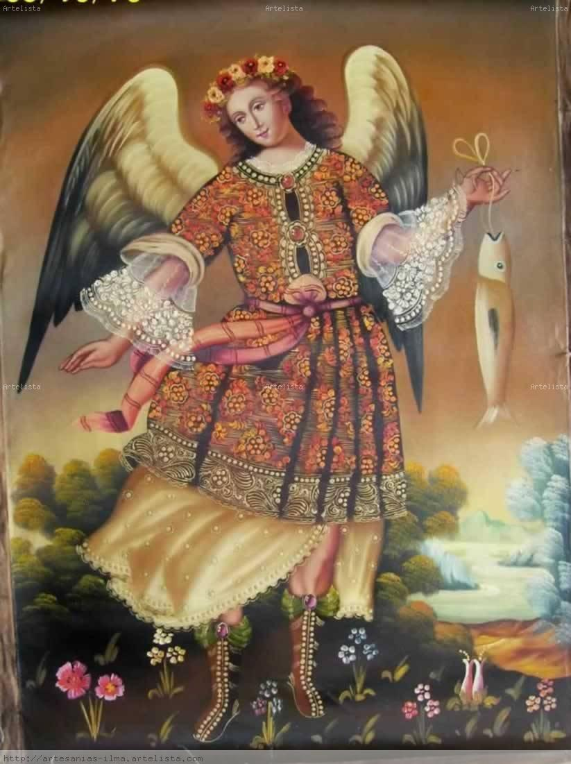 Arcangel San Rafael Pintura Colonial Cusque Ilma