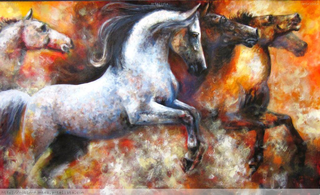 Pintura al leo sobre lienzo cuadro con caballo pintura oleo car tuning