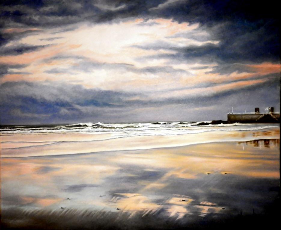 Atardecer en la playa de san lorenzo de gijon serie - Pintores en asturias ...