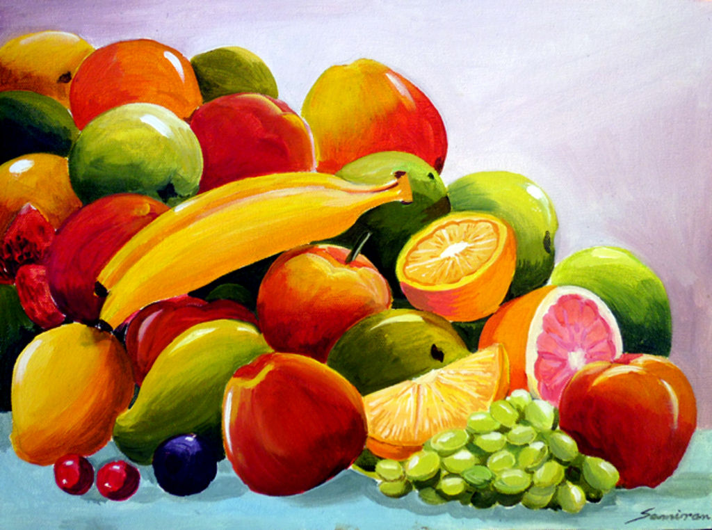 Colourful fruit composition iv acrylic still life paintings canvas