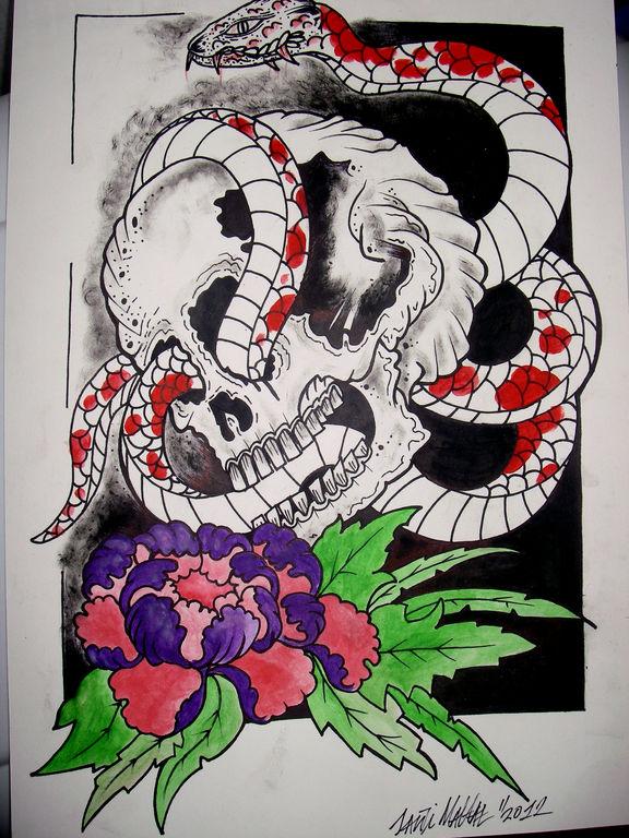 Dibujos a lapiz de calaveras con serpientes  Imagui