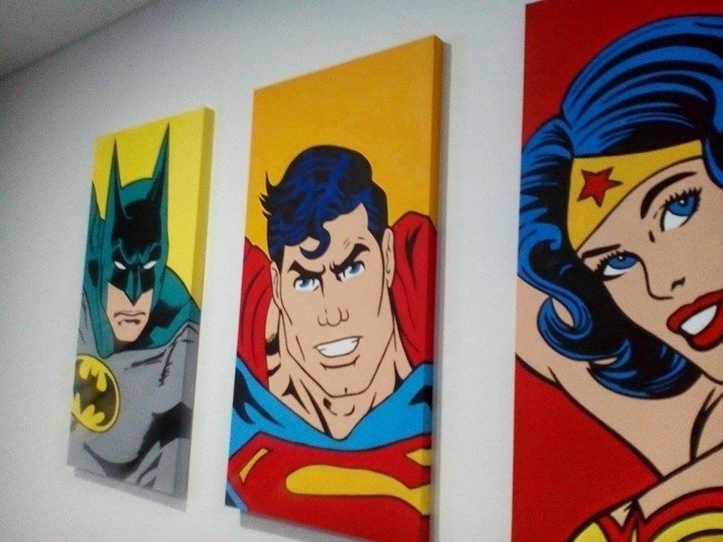 Triptico liga de la justicia popart rafael mastrodomenico - Cuadros pop art comic ...