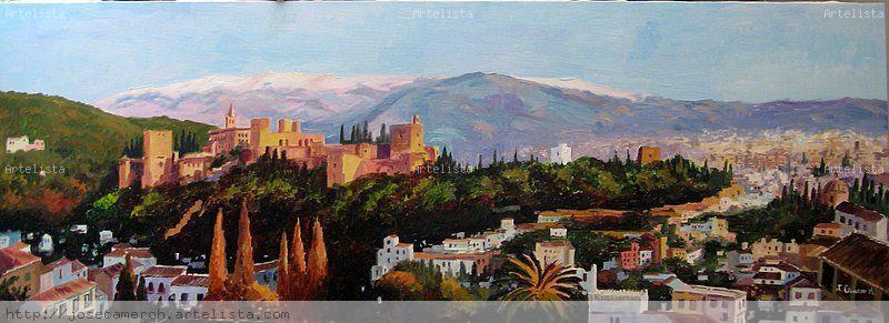 panoramica de la alhambra y granada jose camero hernandez On granada pintura