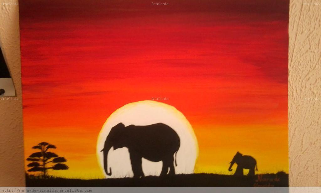 Sabana africana elefantes nara almeida - Enmarcar lienzo ...