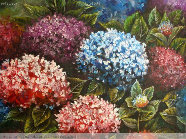 Jard n de hortensias elena robayna abreut - Oleos de jardines ...