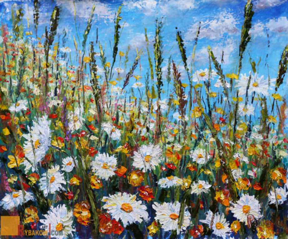 Flower painting glade summer flowers artist valery for Flower paintings on canvas