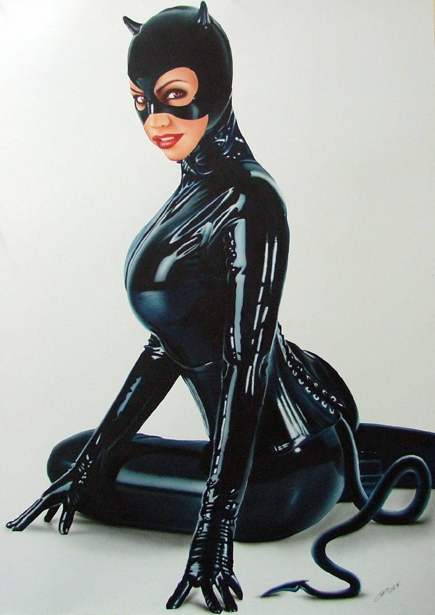 image Black latex suit babes posing in rubber boots