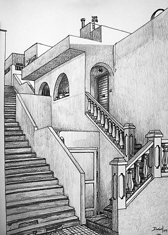 Entrada con escaleras daniel formigo - Casas dibujadas a lapiz ...