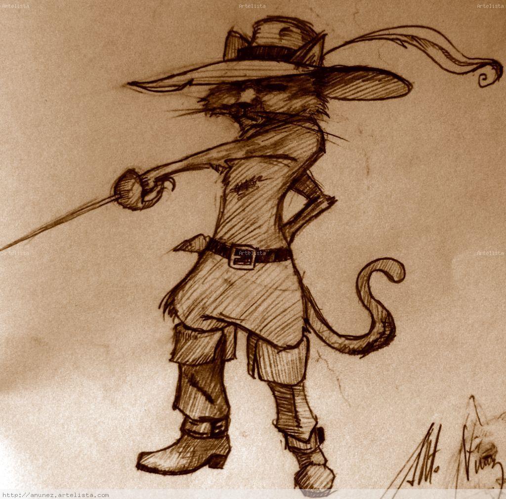 Dibujo Lapiz Gato Gato Con Botas Lápiz