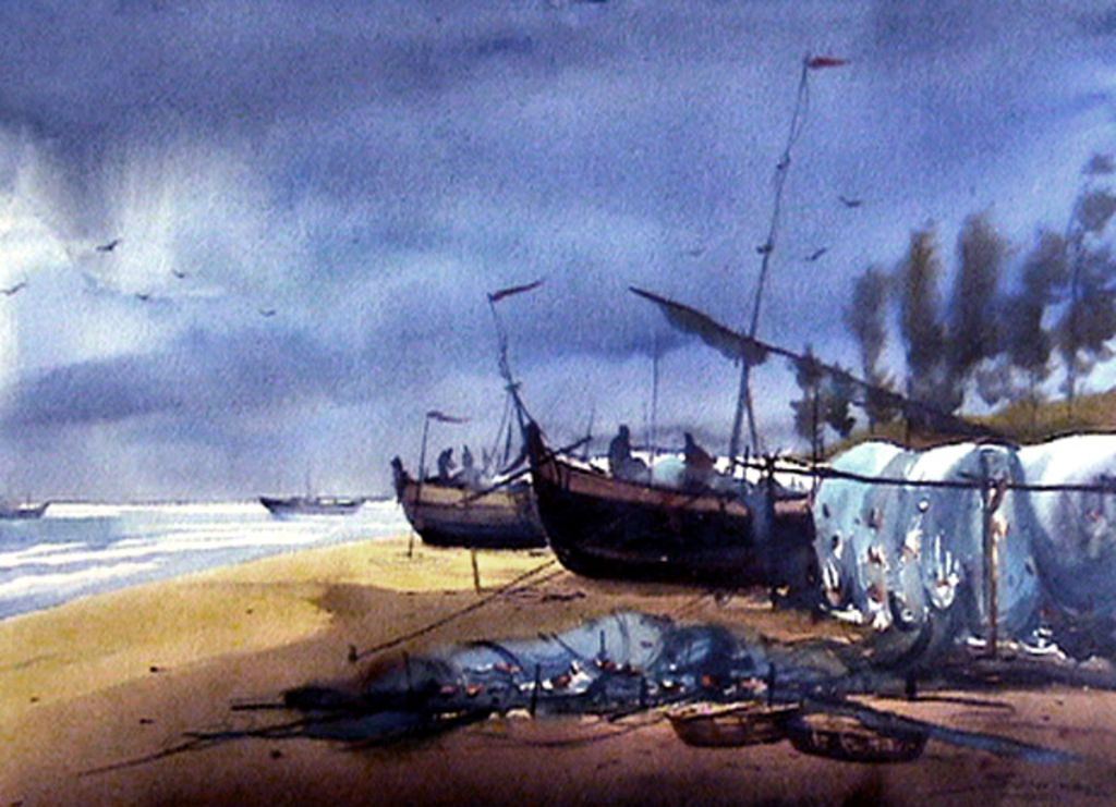 fishing boats at seashore samiran sarkar - artelista com