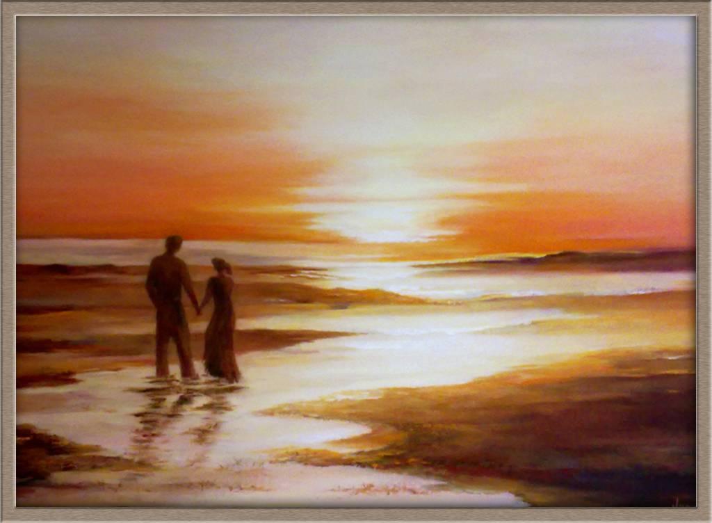 Pareja en la playa juana l pez s nchez - Cuadros de parejas ...