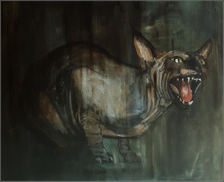 Sphynx Animales Media Mixta Lienzo