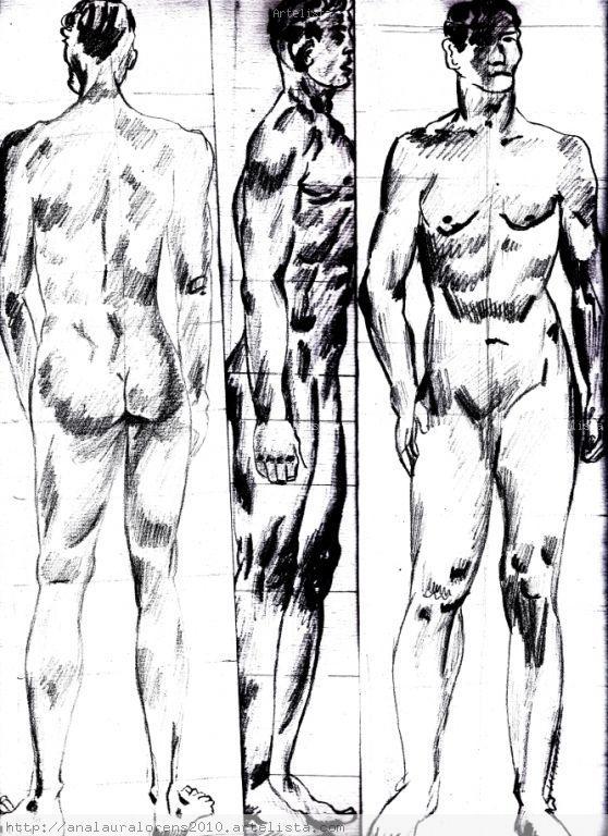 Cuerpo Desnudo Total Hombre Carboncillo