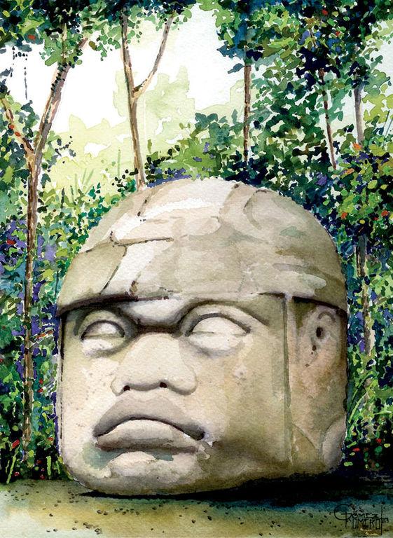 Cabeza Olmeca Dibujo Cabeza Olmeca Monumento 1
