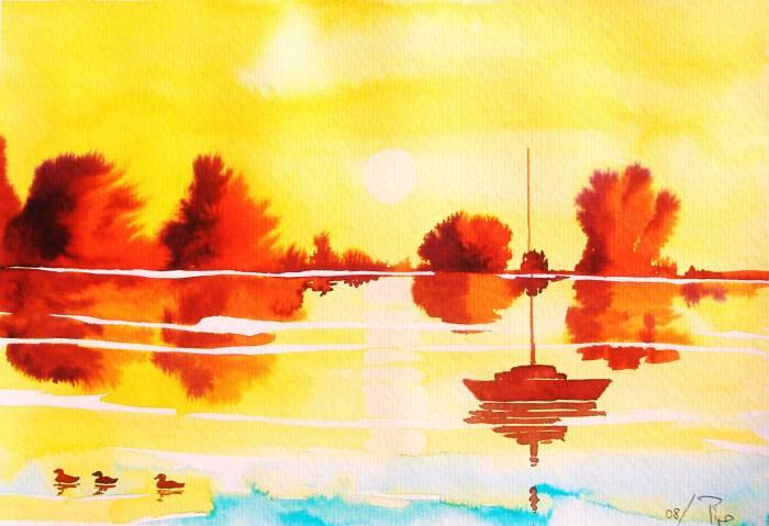 Estanque con patos pipo jost nicolas for Pintura para estanques