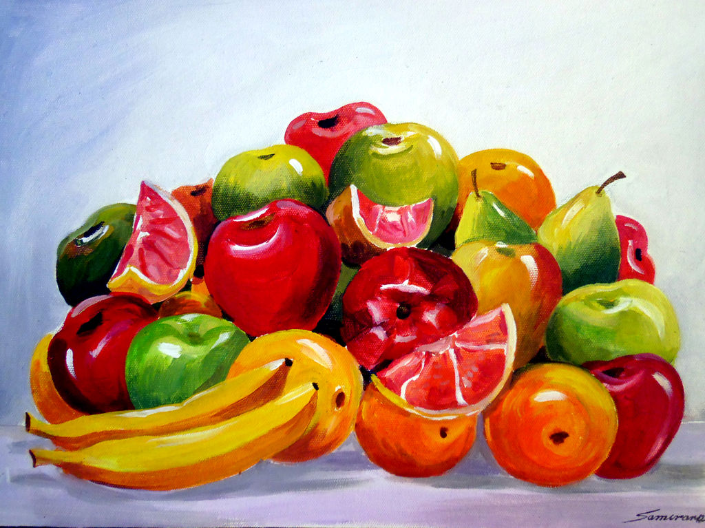 Colourful fruit composition v acrylic still life paintings canvas