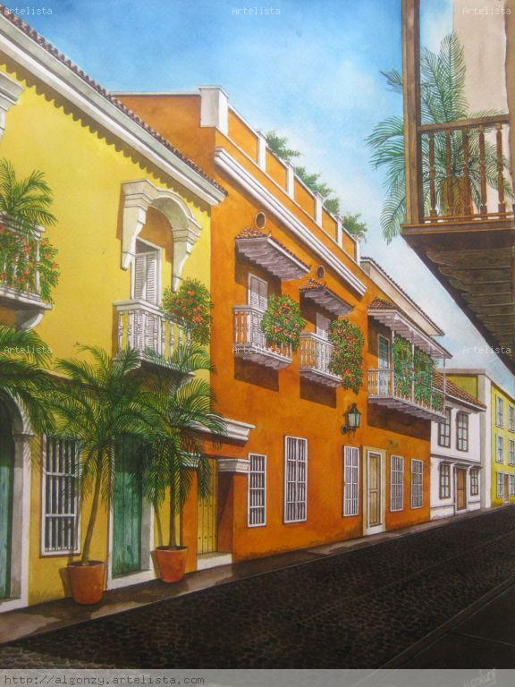Calle de cartagena de indias carlos alberto gonz lez da silva - Pintores en cartagena ...