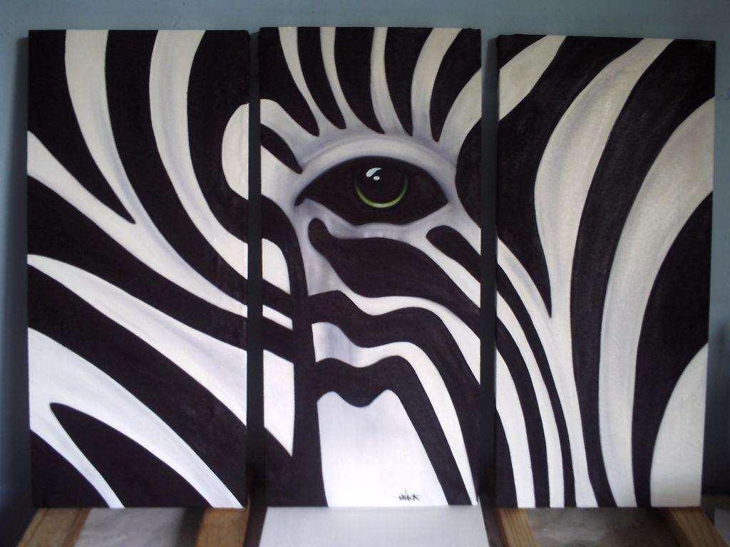 Triptico zebra yiack salvador - Cuadros de cebras ...