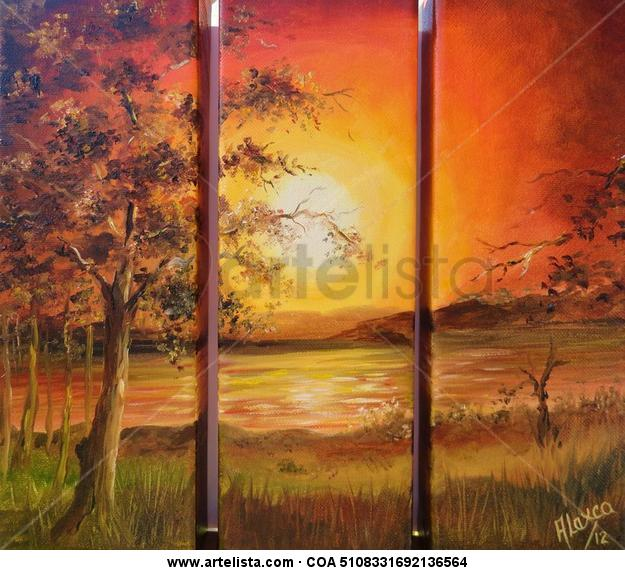Summer Sunset Landscaping Oil Canvas