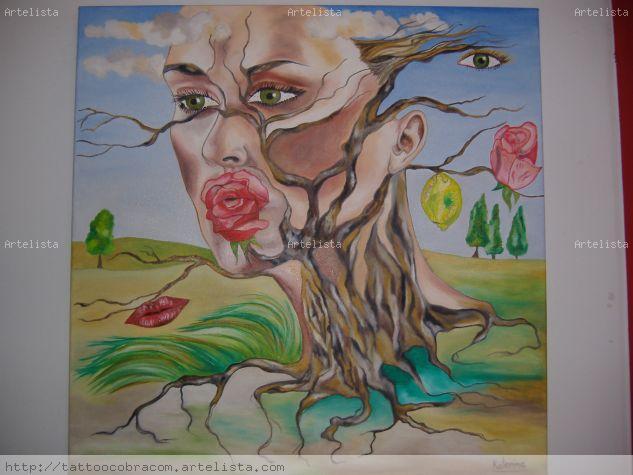 mujer arbol Óleo Lienzo Otros