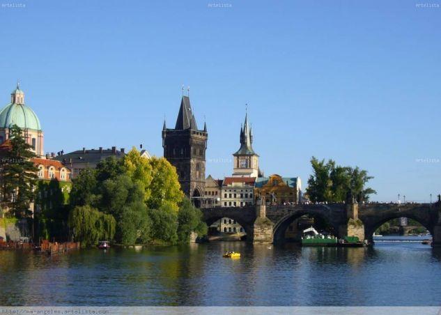 Rio Moldava-Puente de Carlos IV-Praga Color (Digital) Viajes