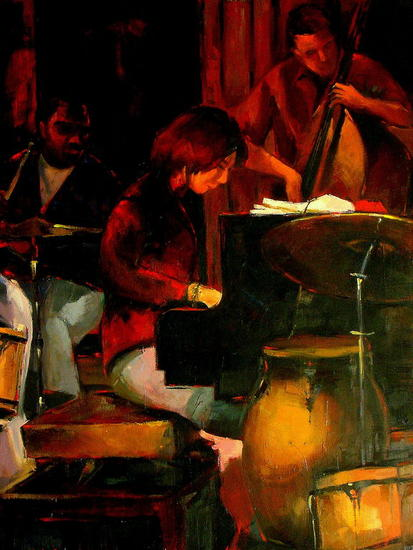 Jazz - Piano Oil Canvas Figure Painting