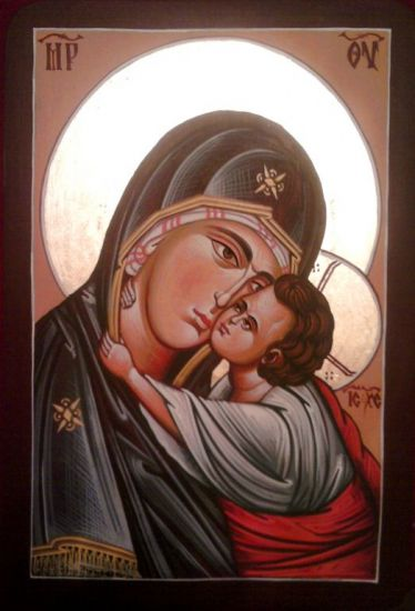 MotheMother of God-Madonna with Christ 36 x 24 cm egg tempera on wood