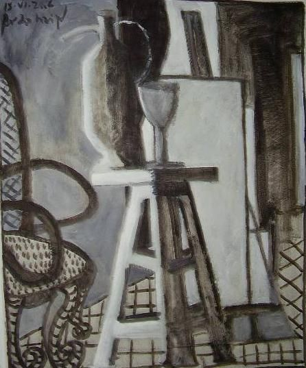 interior con banqueta Óleo Papel Bodegones