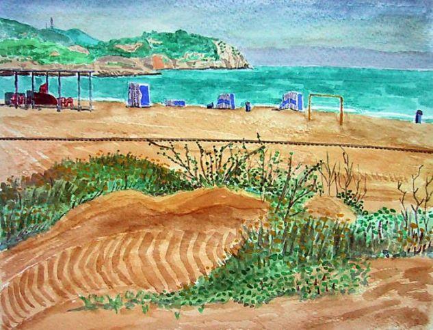 La playa del Far de Vilanova Papel Acuarela Marina