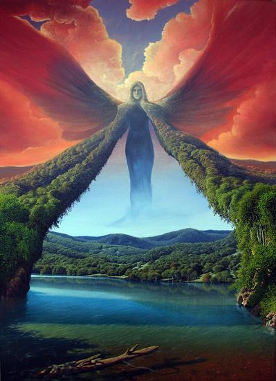 Gaia y el portal de Vida Lienzo Acrílico Paisaje