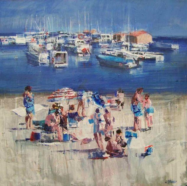 Bañistas en la playa Acrílico Lienzo Paisaje