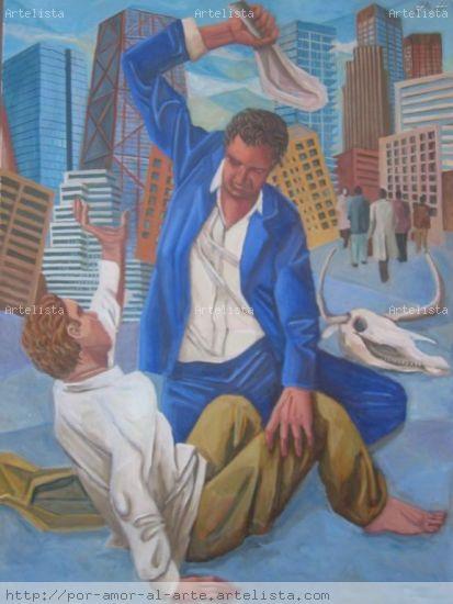 Caín y Abel II Figura Lienzo Óleo