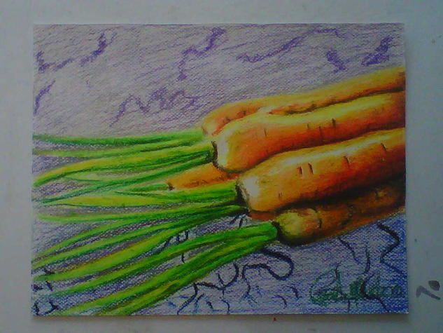 carrots Bodegones Papel Pastel
