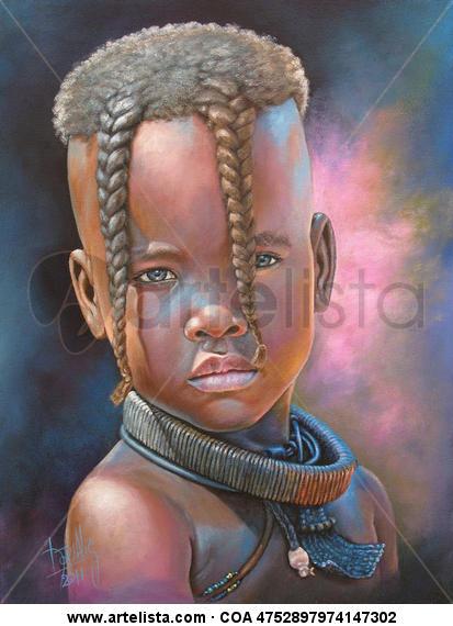 Niña de África 27 Canvas Acrylic Portrait