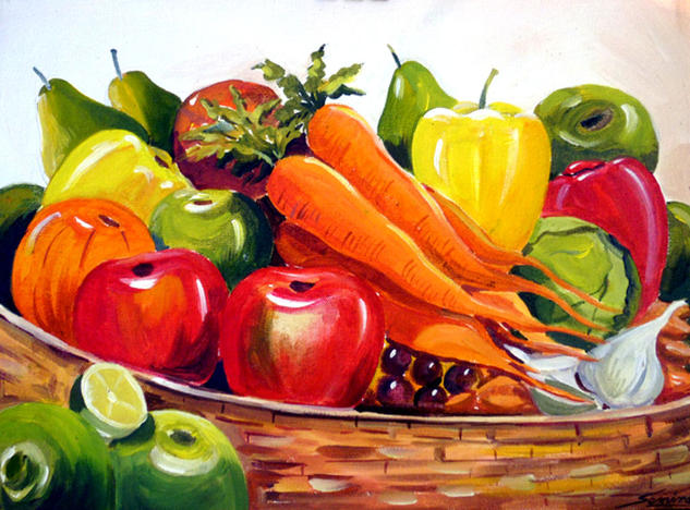 Colourful Fruits Composition Acrylic Still Life Paintings Canvas