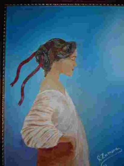 Cinta roja Acrílico Lienzo Retrato