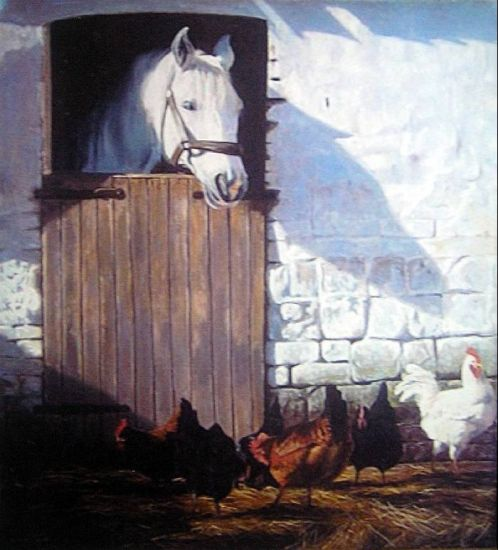 caballo y gallinas